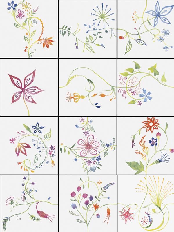 Купить Керамическая плитка Bardelli Primavera Colore 1 Be 20 Декор (комп/12шт) 20x20, Италия
