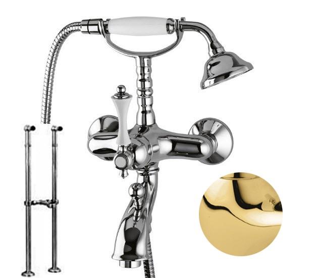 Купить Смеситель для ванны и душа Cezares Margot золото, ручка металл MARGOT-VDPS-03/24-M, Италия