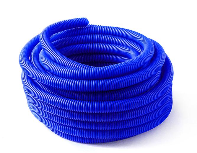 Купить Кожух гофрированный синий 40 мм для труб диаметром 22-28 мм 1м, ДельтаПро, Россия