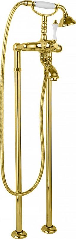 Купить Смеситель для ванны и душа Cezares Margot золото, ручка белая MARGOT-VDP-03/24-Bi, Италия