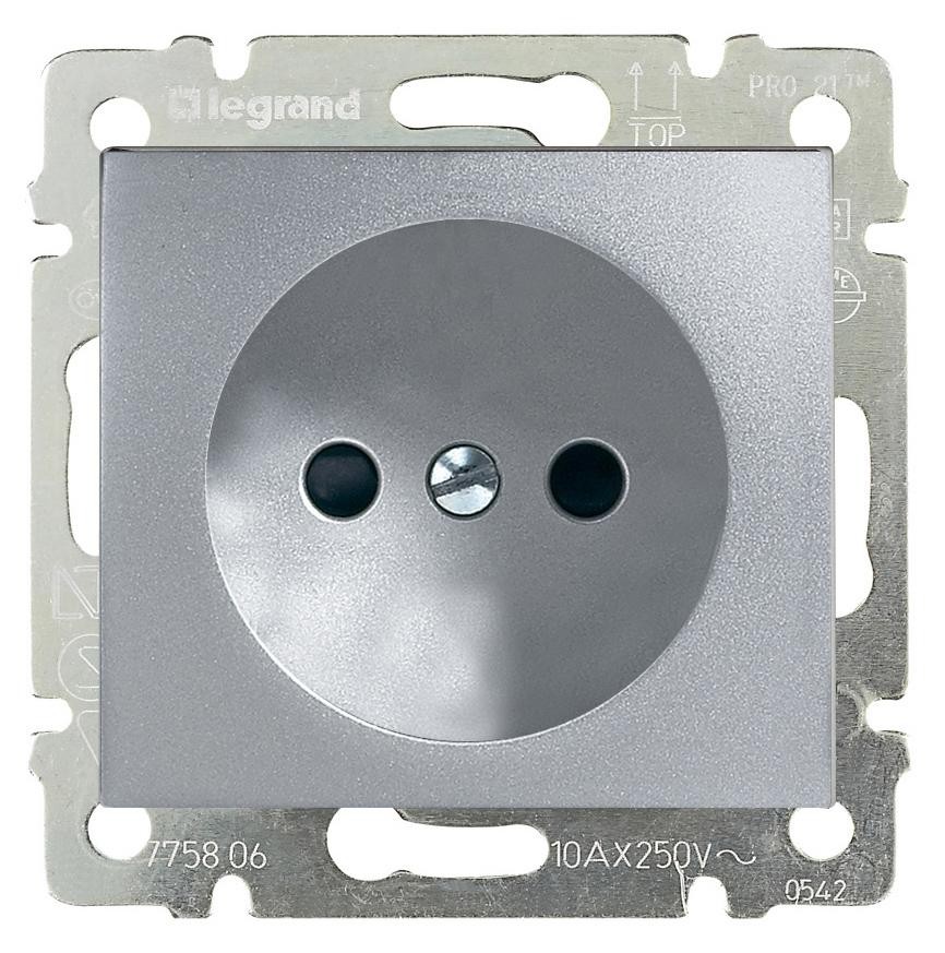 Купить Электрическая розетка Legrand Valena Легранд Валена без заземления алюминий 770116, Франция