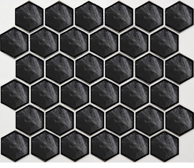 Керамогранит Seranit Bruno Perla Mosaic Hexagon Black мозаика 24, 5x28, Турция  - Купить