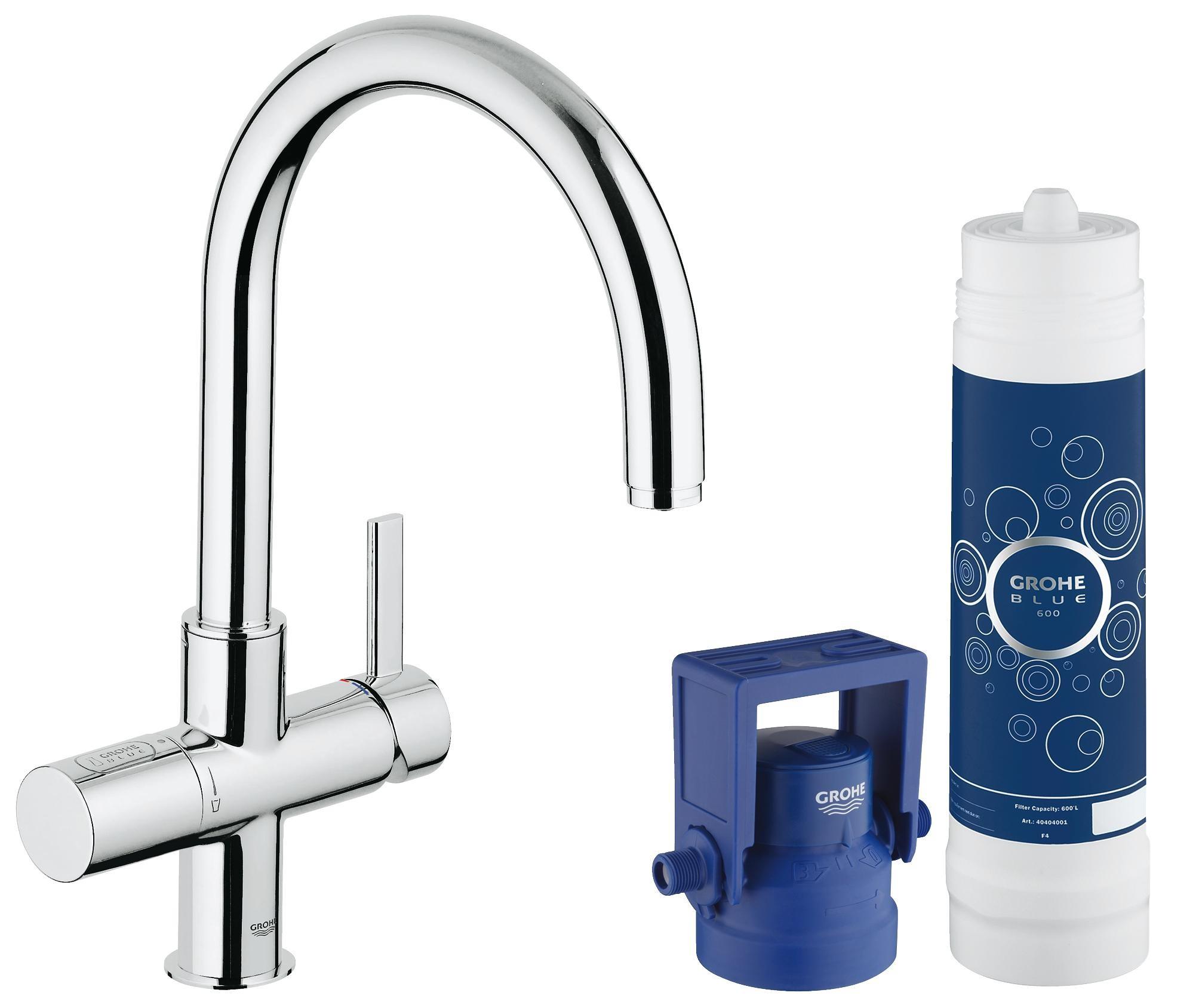 Купить Комплект со смесителем для кухни Grohe Blue (фильтрация, C-излив) 33249001, Германия