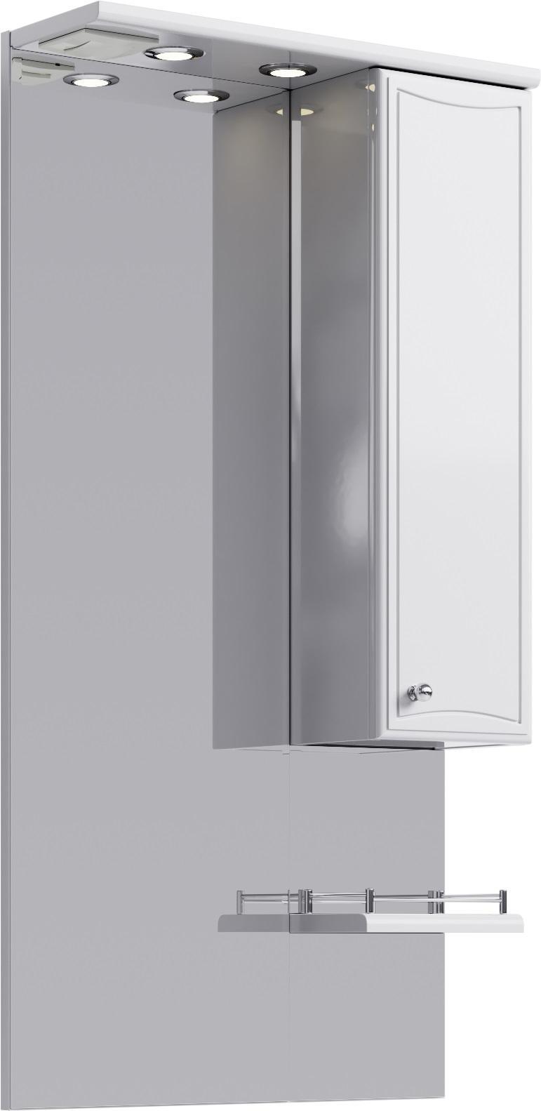 Купить Зеркало Aqwella Барселона 55 со шкафчиком и подсветкой, белый Ba.02.55, Россия
