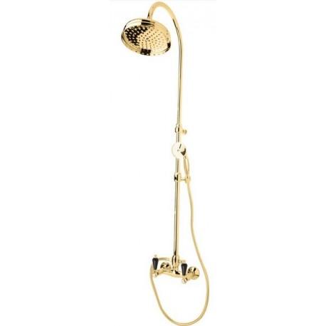 Купить Душевая колонна со смесителем, верхним и ручным душем Cezares Diamond золото, ручка Svarovski черная DIAMOND-CD-03/24-Sw-N, Италия