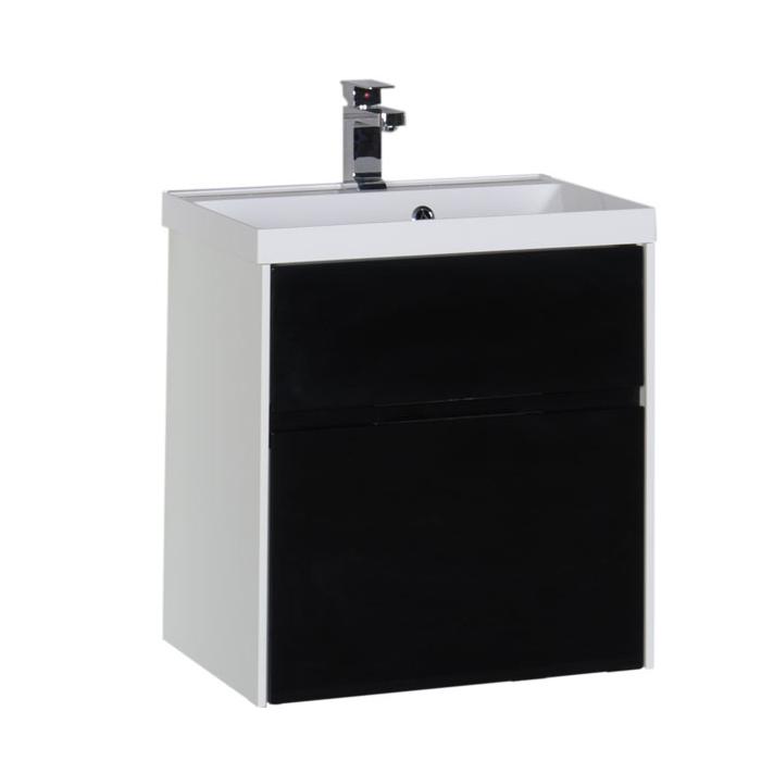 Купить Тумба с раковиной Aquanet Латина 60 подвесная, черный (2 ящика) 00179937+00179393, Россия