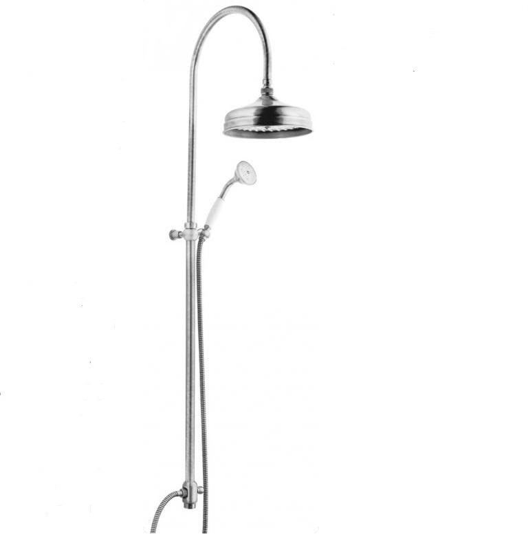 Купить Душевая колонна с ручным и верхним душем Cezares Elite хром, ручка белая ELITE-CAI-01-Bi, Италия