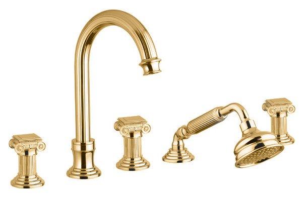 Купить Смеситель для ванны и душа Cezares Olimp золото, ручка квадратная OLIMP-BVD-03/24-O, Италия