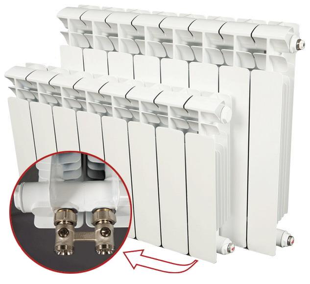Купить БиМеталлический радиатор Rifar Base Ventil 350 11 секций с нижним левым подключением, Россия