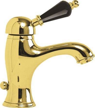 Купить Смеситель для раковины Cezares Vintage золото, ручка Swarovski черная VINTAGE-LSM1-03/24-Sw-N, Италия