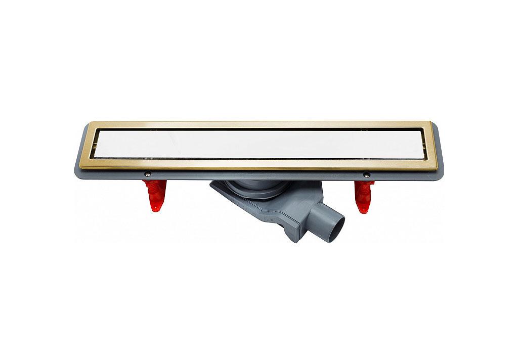 Душевой лоток Pestan Confluo Premium Gold White Glass Line 650 мм 13100091