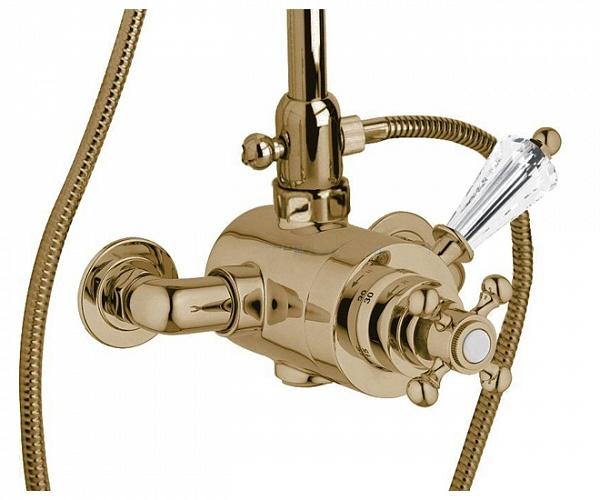 Купить Смеситель для душа термостатический Cezares Vintage бронза, ручка Swarovski VINTAGE-D-T-02-Sw, Италия