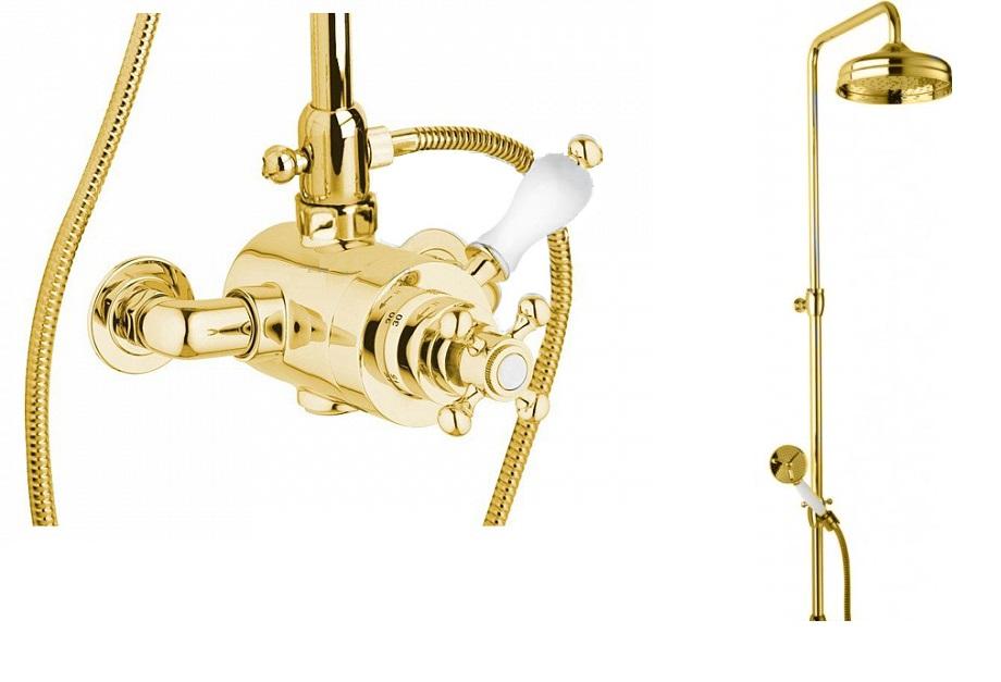 Купить Смеситель для душа Cezares Venezia золото, ручка белая VENEZIA-CD-T-03/24-Bi, Италия