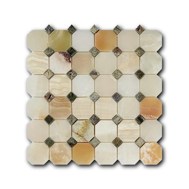 Купить Мраморная мозаика Art&Natura Octagon Pattern Verde Onix+Rain Forest Green 30, 5х30, 5, Италия