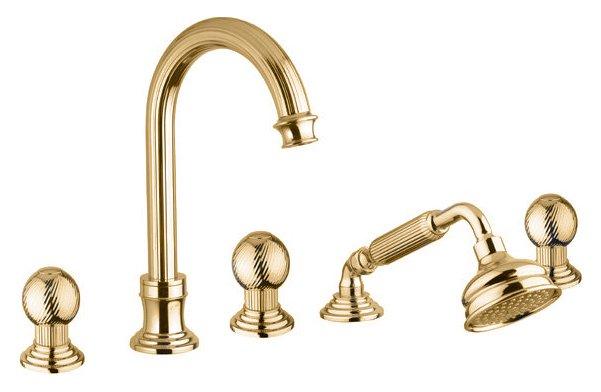 Купить Смеситель для ванны и душа Cezares Olimp золото, ручка металл OLIMP-BVD-03/24-M, Италия