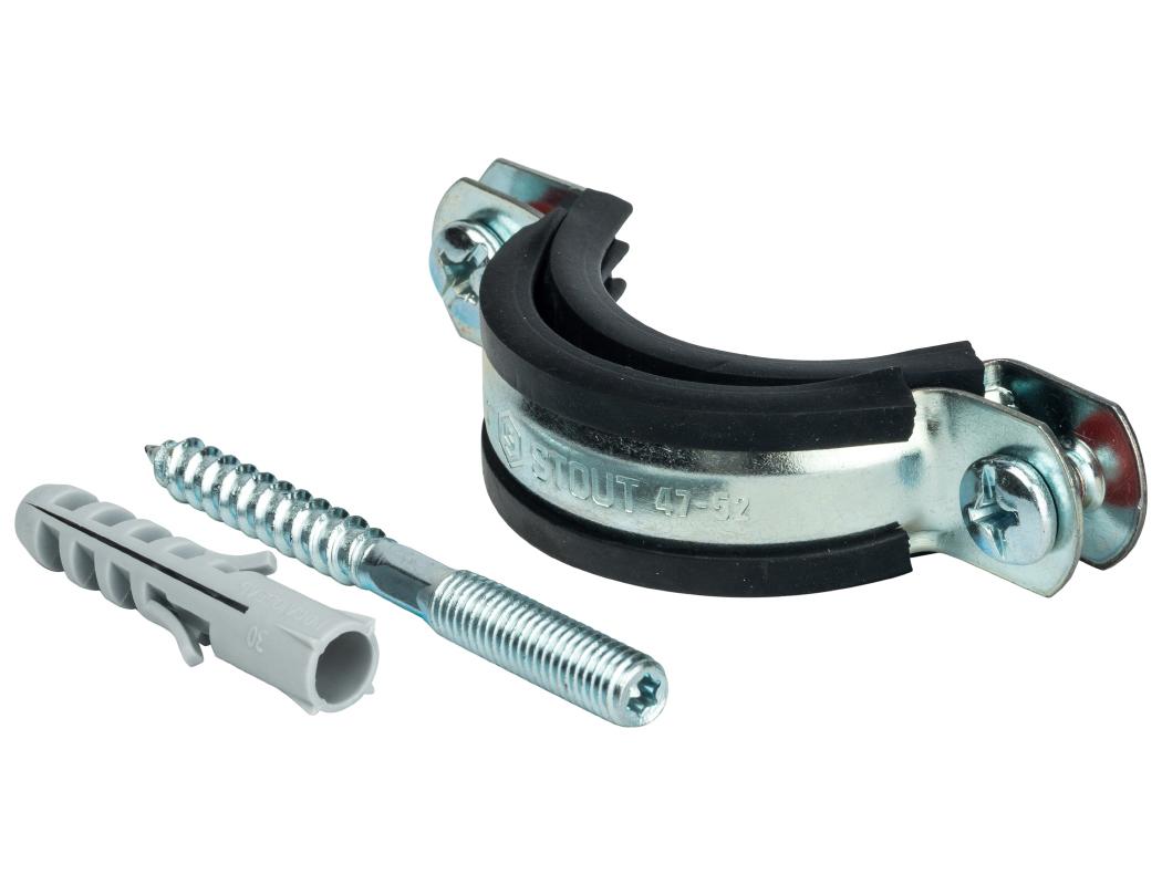 Купить STOUT Хомут для труб, комплект: хомут+шпилька шуруп +дюбель пластиковый 1 1/2 (47-52)