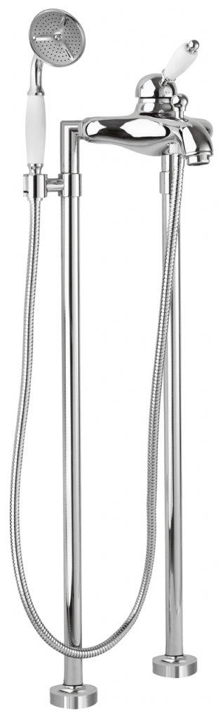 Купить Смеситель для ванны и душа Cezares Elite хром, ручка белая ELITE-VDPM-01-Bi, Италия