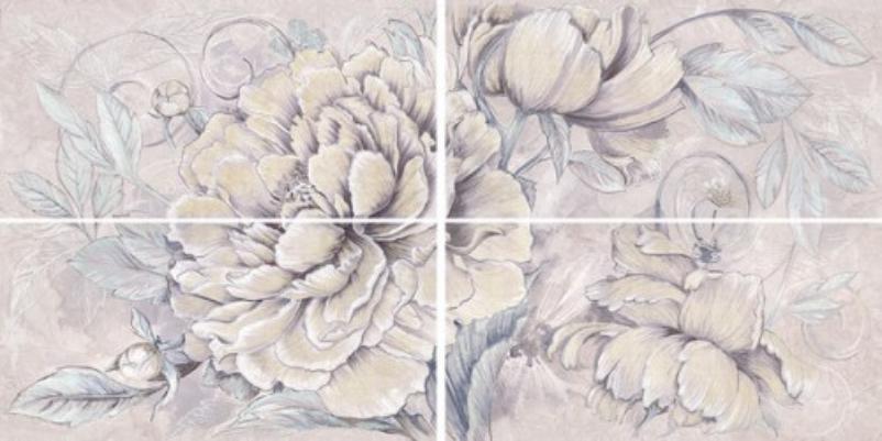Купить Керамическая плитка Керлайф Delicato Bouquet Perla панно 63x126, Россия