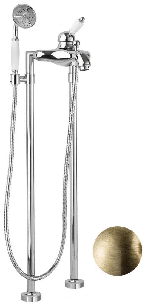 Купить Смеситель для ванны и душа Cezares Elite бронза, ручка белая ELITE-VDPM-02-Bi, Италия
