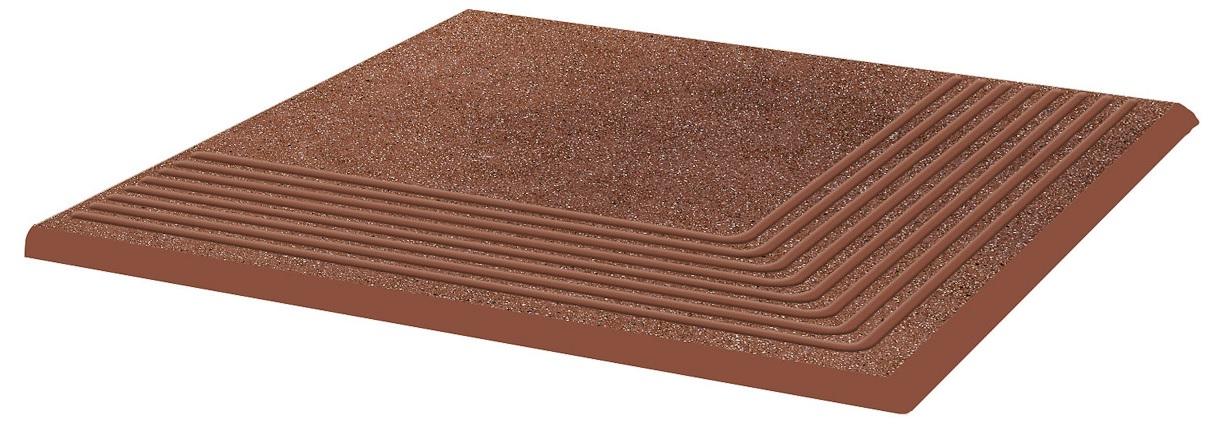Купить Керамическая плитка Grupa Paradyz Taurus Brown Ступень рифленая наружная структурная 30х30х1, 1 (шт), Польша