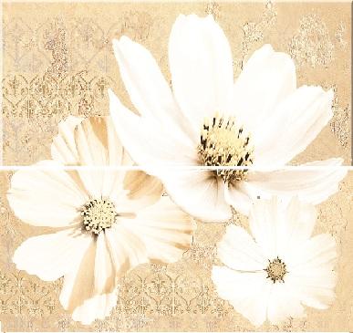 Купить Керамическая плитка Sfumato Beige Панно Floret - комплект из 2 плиток 505x201 мм/505x402 мм/6, Azori, Россия