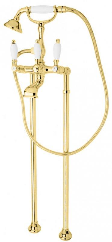 Купить Смеситель для ванны и душа Cezares First золото, ручка белая FIRST-VDP-03/24-Bi, Италия