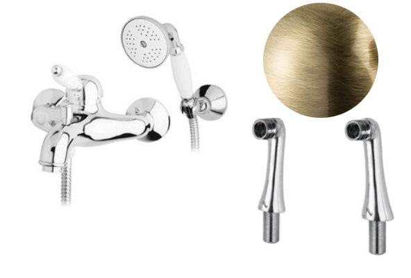 Купить Смеситель для ванны и душа Cezares Elite бронза, ручка белая ELITE-PBVM-02-Bi, Италия