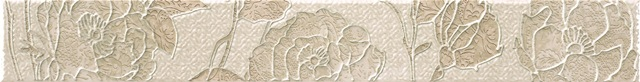 Керамическая плитка Rocersa Aura Cenefa Fleurs Beige Бордюр 7, 5x59, 34, Испания  - Купить