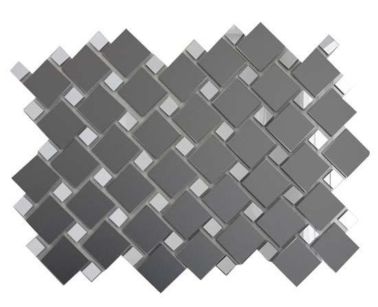 Купить Мозаика зеркальная Графит матовый + Серебро Гм70С30 ДСТ 25х25 и 12х12/300 x 300 мм (10шт) - 0, 9, Россия