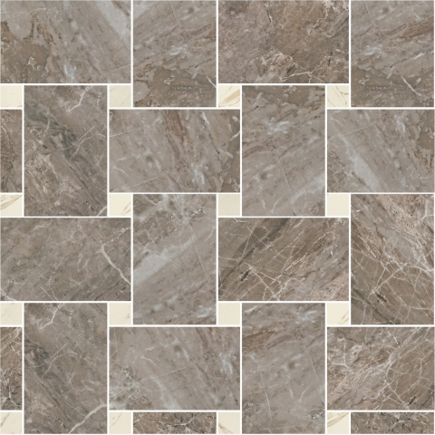 Купить Керамогранит Versace Marble Grigio 240535 Mosaico Intreccio Grigio-Bianco Lap/Nat Мозаика на сетке 29, 1x29, 1, Италия