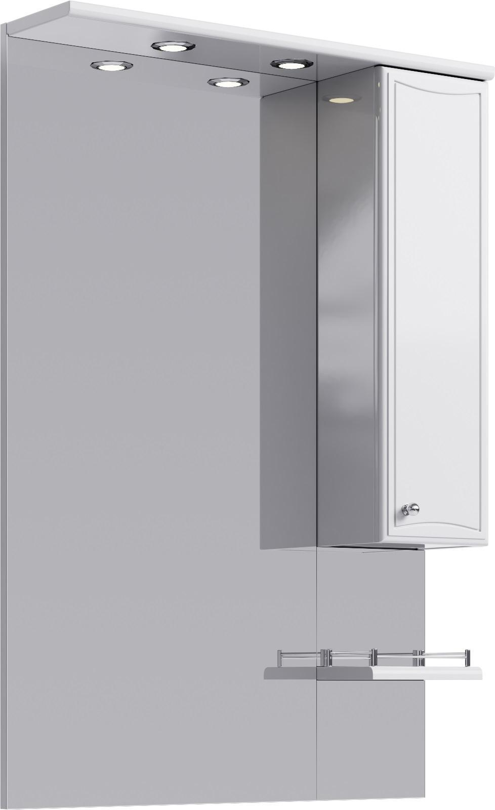 Купить Зеркало Aqwella Барселона 70 со шкафчиком и подсветкой, белый Ba.02.07, Россия