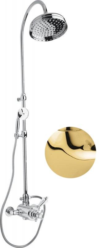 Купить Душевая колонна с термостатическим смесителем, верхним и ручным душем Cezares Vintage золото, ручка Svarovski VINTAGE-CD-T-03/24-Sw, Италия