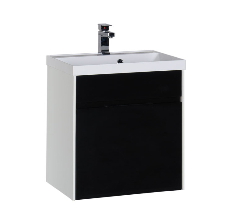 Купить Тумба с раковиной Aquanet Латина 60 подвесная, черный (1 ящик) 00179935+00179393, Россия