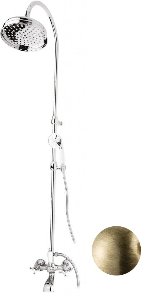 Купить Душевая колонна со смесителем для ванны, верхним и ручным душем Cezares Golf бронза, ручка белая GOLF-CVD-02-Bi, Италия