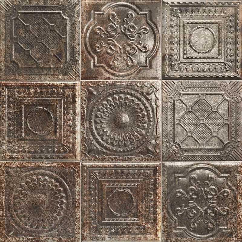 Купить Керамическая плитка Mainzu Tin-Tile Rusty Nero (Mix без подбора) настенная 20х20, Испания