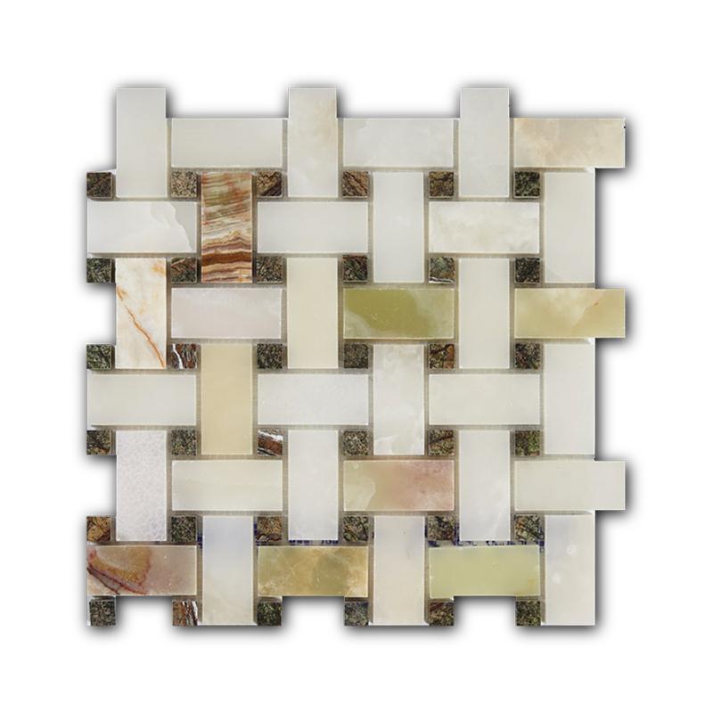 Купить Мраморная мозаика Art&Natura Basket Weave Verde Onix+Rain Forest Green 30, 5х30, 5, Италия