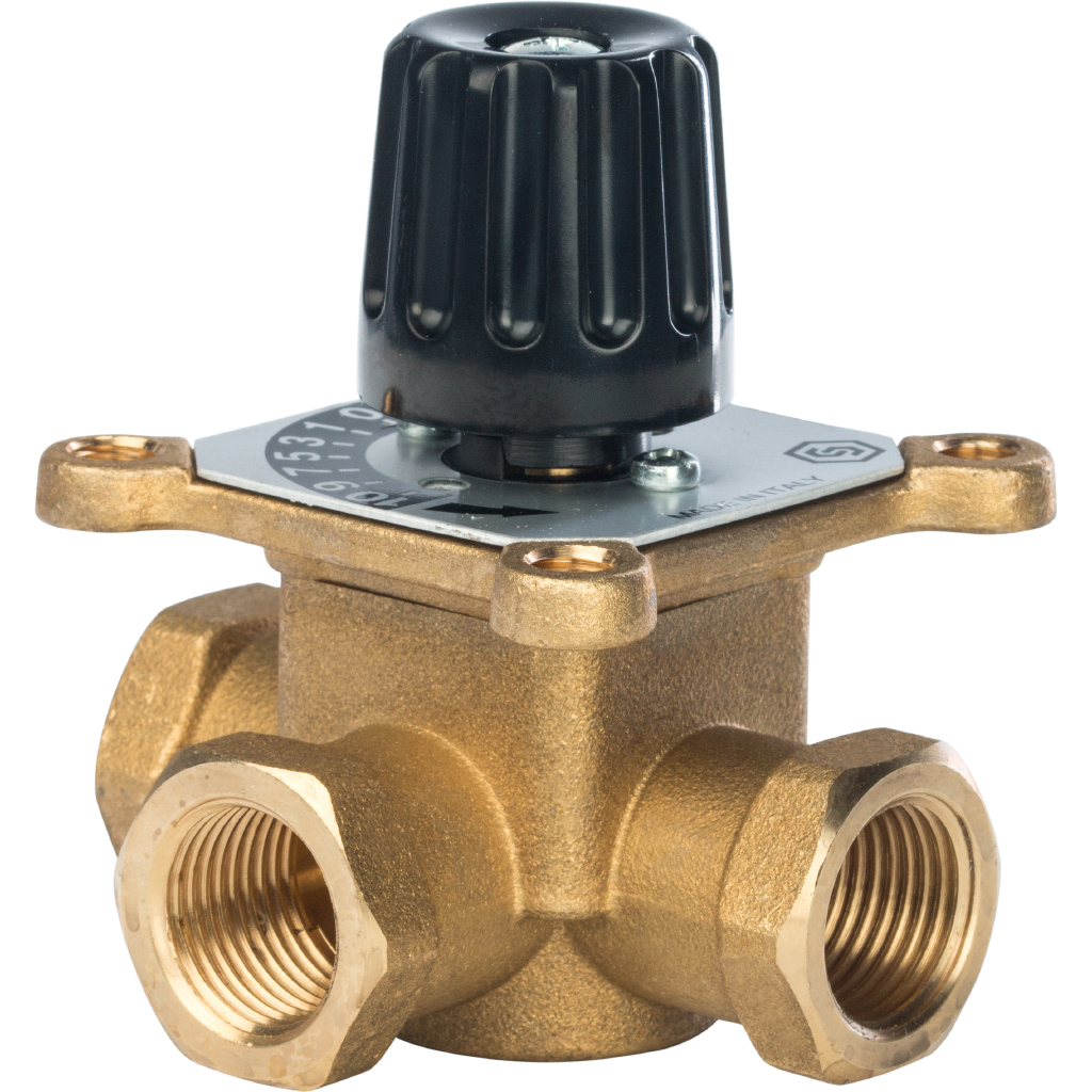 Купить STOUT 3-х ходовой смесительный клапан 1/2″ KVs 2, 5 м3/ч, Италия