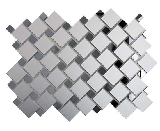 Купить Мозаика зеркальная Серебро матовое + Графит См70Г30 ДСТ 25х25 и 12х12/300 x 300 мм (10шт) - 0, 9, Россия
