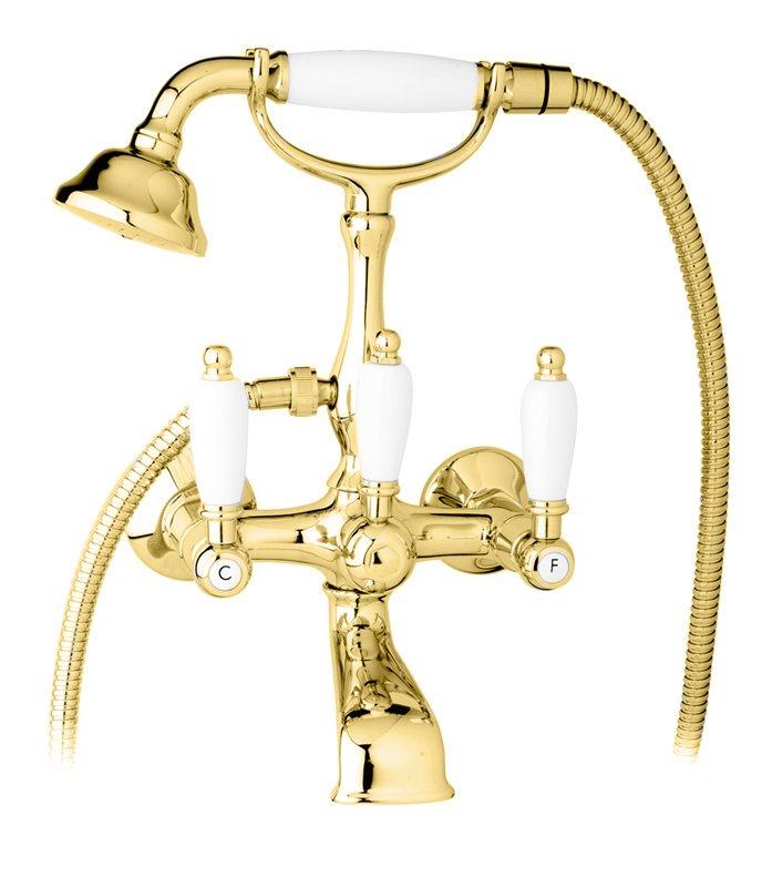 Купить Смеситель для ванны и душа Cezares First золото, ручка белая FIRST-VD-03/24-Bi, Италия