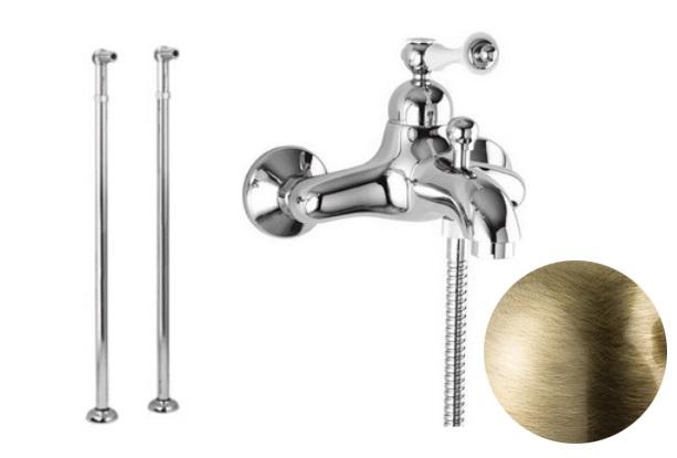 Купить Смеситель для ванны и душа Cezares Margot бронза, ручка белая с кольцом MARGOT-VDPM-02-Bi/A, Италия
