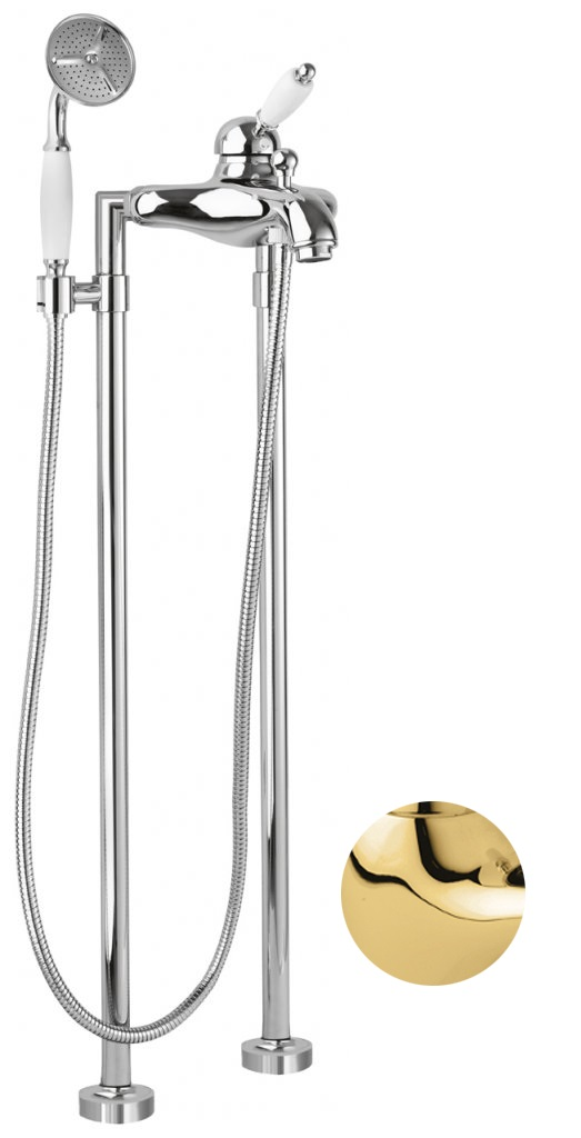 Купить Смеситель для ванны и душа Cezares Elite золото, ручка белая ELITE-VDPM-03/24-Bi, Италия