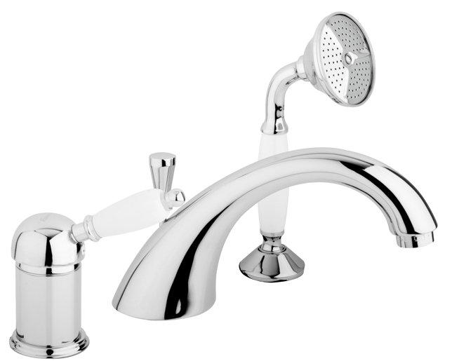 Купить Смеситель для ванны и душа Cezares Elite хром, ручка белая ELITE-BVDM-01-Bi, Италия