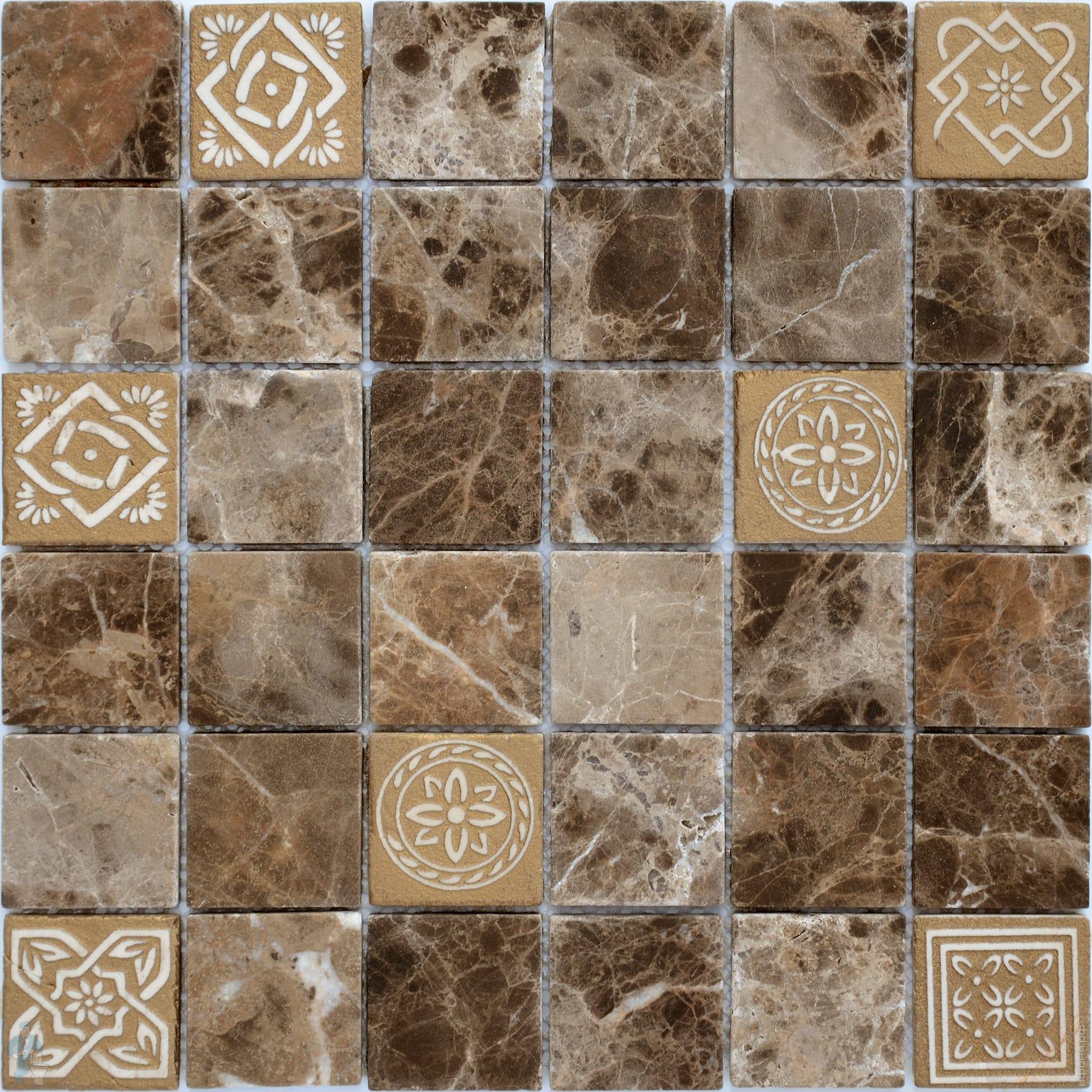 Купить Мозаика Caramelle Mosaic Art Stone Emperador Dark Mat (4, 8x4, 8) 30x30, Китай