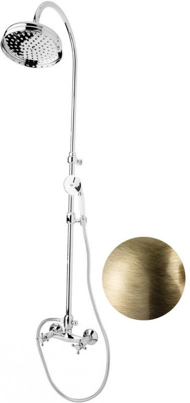 Купить Душевая колонна со смесителем, верхним и ручным душем Cezares Golf бронза, ручка белая GOLF-CD-02-Bi, Италия