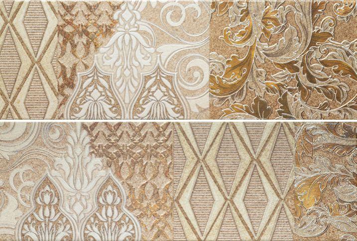 Купить Керамическая плитка Porcelanite Dos 7514 Composicion Living II Beige (компл. из 2 шт) декор 25х75, Испания
