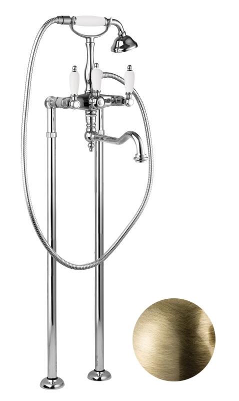 Купить Смеситель для ванны и душа Cezares First бронза, ручка орех FIRST-VDP2-02-Nc, Италия