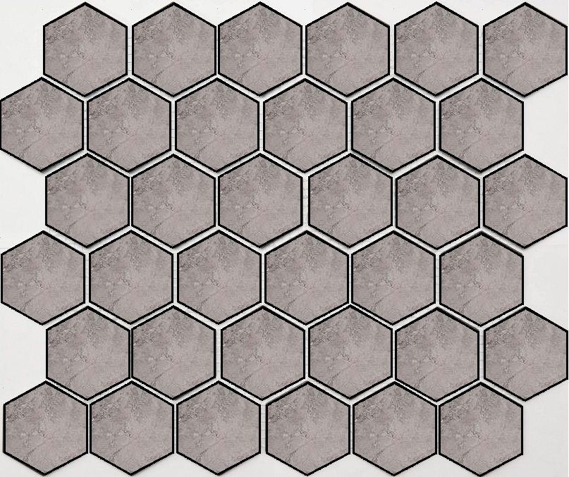 Купить Керамогранит Seranit Fibre Mosaic Hexagon Grey Lappato мозаика 24, 5x28, Турция