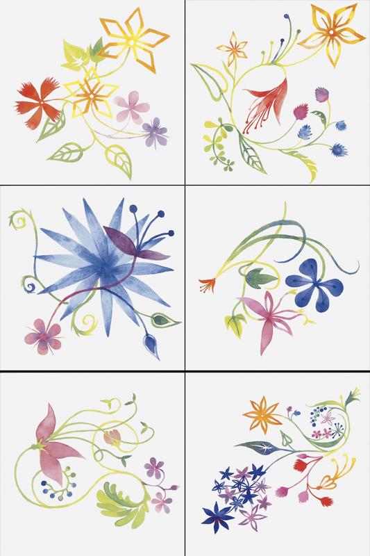 Купить Керамическая плитка Bardelli Primavera Colore 2 Be 20 Декор (комп/6шт) 20x20, Италия