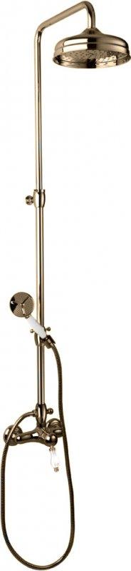 Купить Душевая колонна со смесителем, верхним и ручным душем Cezares Venezia бронза, ручка белая VENEZIA-CD-02-Bi, Италия