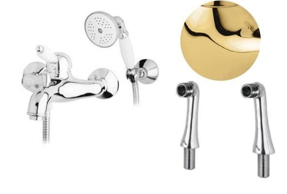 Купить Смеситель для ванны и душа Cezares Elite золото, ручка белая ELITE-PBVM-03/24-Bi, Италия